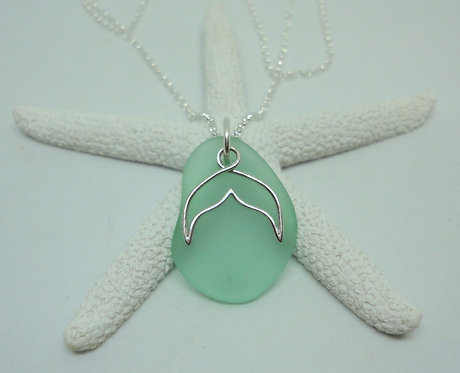 Whale or Mermaid Tail Charm Sea Glass Necklace