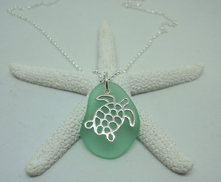 Turtle Charm Sea Glass Necklace