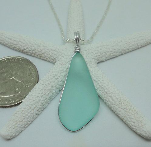 Free Form Wire Wrapped Sea Sea Glass Pendant