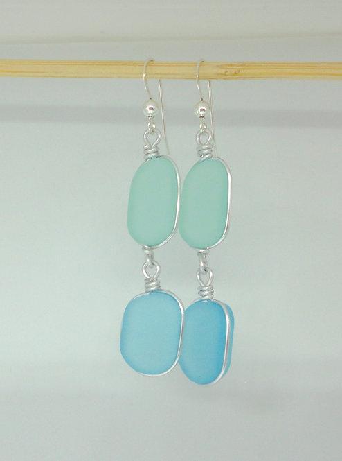 Dangle blue and green sea glass earrings