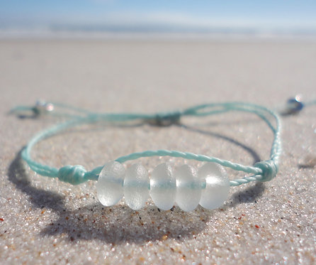 Sea Glass Bead Adjustable Bracelet