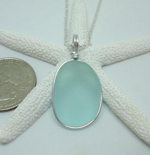 Oval Wire Wrapped Sea Sea Glass Pendant