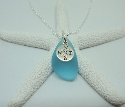 Compass Charm Sea Glass Necklace