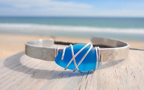 Wire Wrapped  Sea Glass Cuff Bracelet