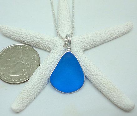 Pear Shaped Wire Wrapped Sea Sea Glass Pendant