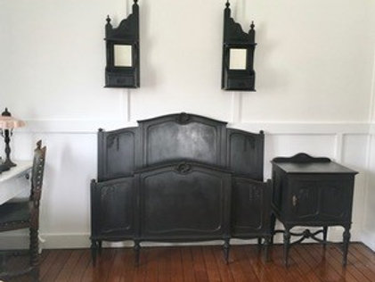 FRENCH STYLE TIMBER DOUBLE BED AND MATCHING SIDE TABLE - BLACK