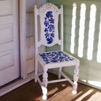 ANTIQUE MOSAIC TIMBER DINING CHAIR