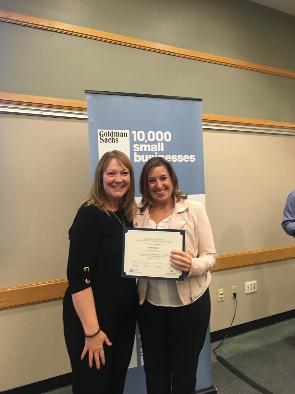 Denise Rice receives 10,000 Small Businesses Certificate of Entrepreneurship