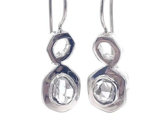 Herkimer Diamonds set in Sterling Silver Earrings