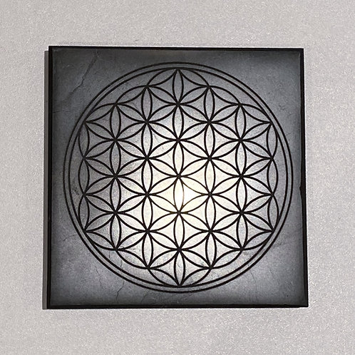 Shungite Tile Polished with engraved Flower of Life