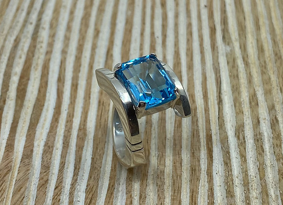 Sky Topaz 9.18 carat Emerald Cut Sterling Silver Ring