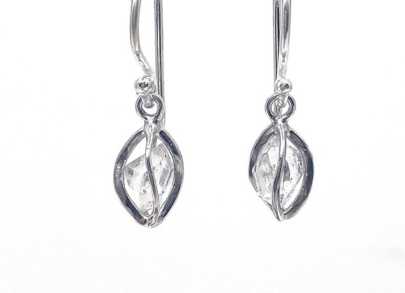 Herkimer Diamonds in a sterling silver earring cage