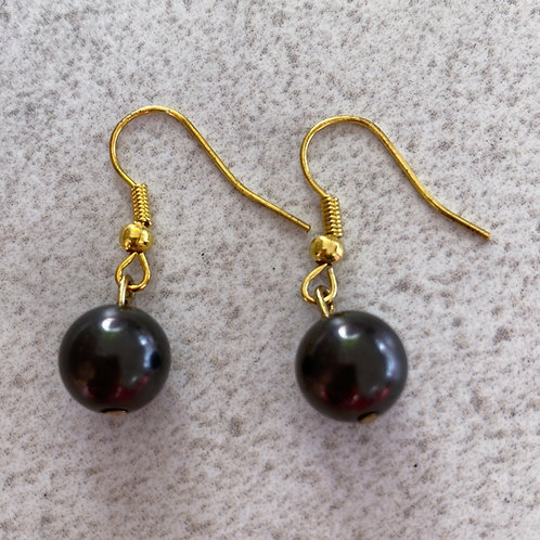 Earrings Single Bead  (Colour - Gold)