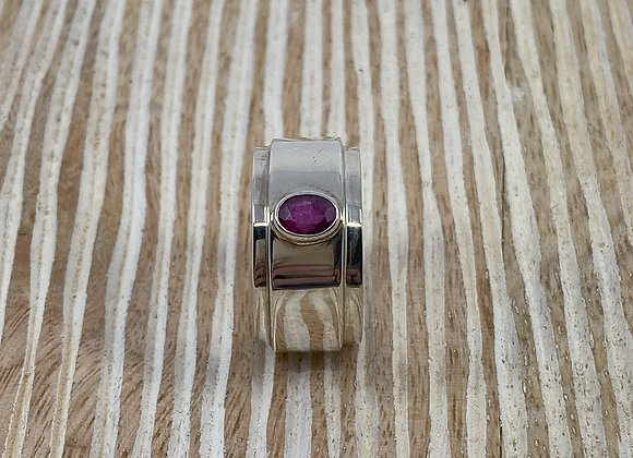 Ruby Set in Sterling Silver Ring