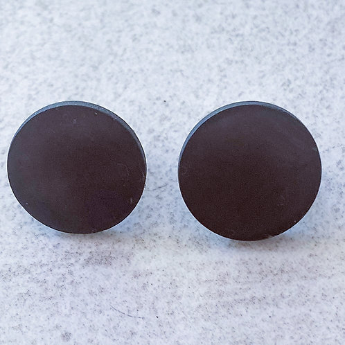 Shungite Disc Earrings Sterling Silver Post