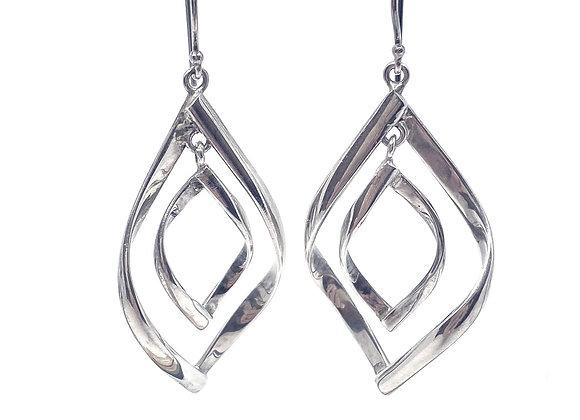 Double Drop Earrings (Tear Shape) sterling silver