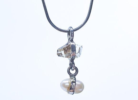 Herkimer Diamond and Pearl Pendant
