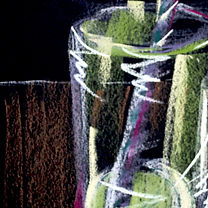 soda and lime, red straw, drawing