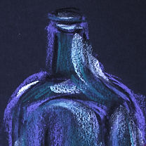 square glass bottle, drawing