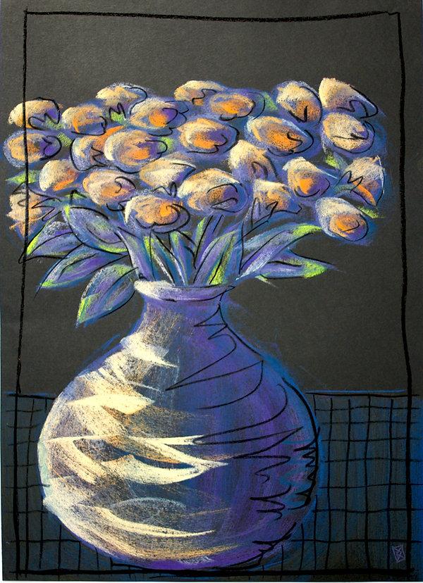 bernice davies, soft pastels, contemporary art, life drawing, figure drawing, contemporary drawing, orange roses, monotone, drawing on paper, black paper