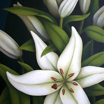 lillies, engraved and painted marble
