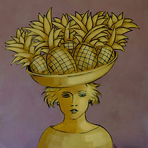 pineapple girl, painting
