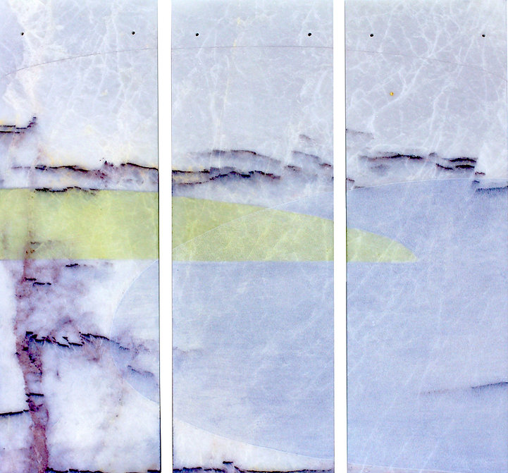 bernice davies, triptych, engraved and painted marble, contemporary art, engraved marble, engraved, abstract art, contemporary marble