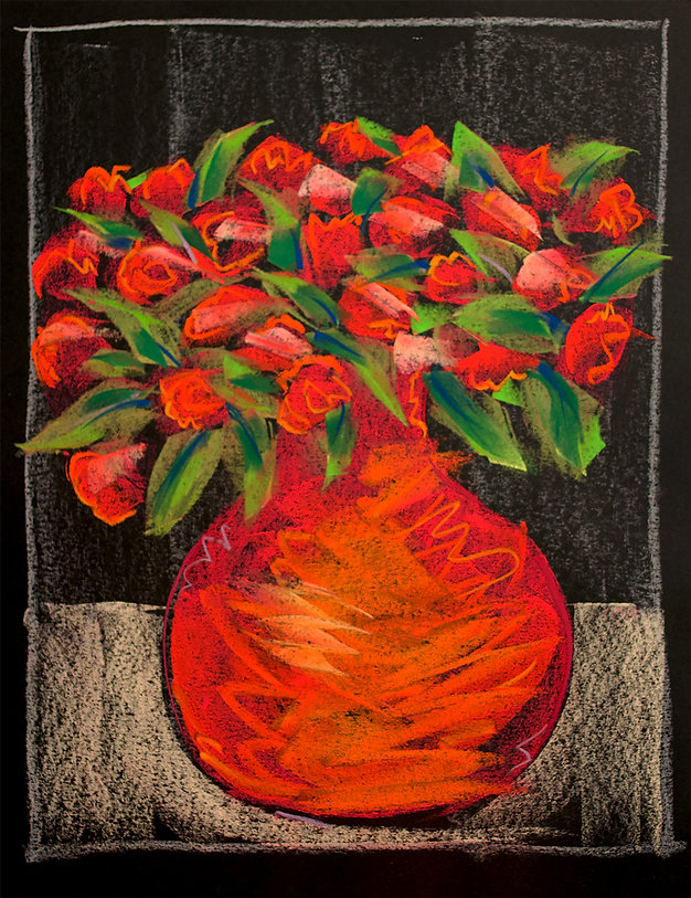 bernice davies, soft pastels, contemporary art, life drawing, figure drawing, contemporary drawing, orange roses, orange vase, drawing on paper, black paper