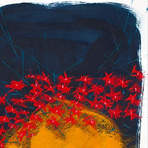 red flowers sketch, drawing