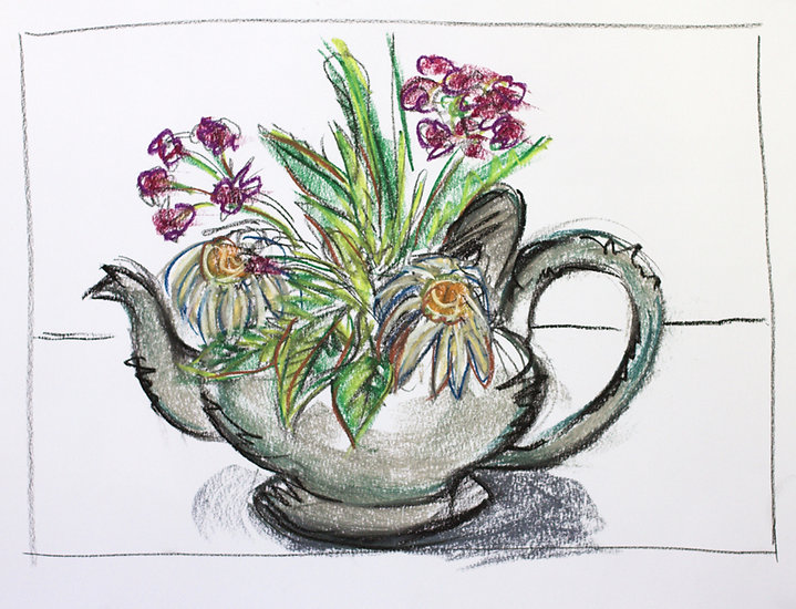 bernice davies, soft pastels, contemporary art, contemporary drawing, floral, flora, silver teapot, dead flowers, still life, drawing on paper