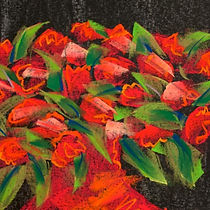 orange roses, orange vase, drawing
