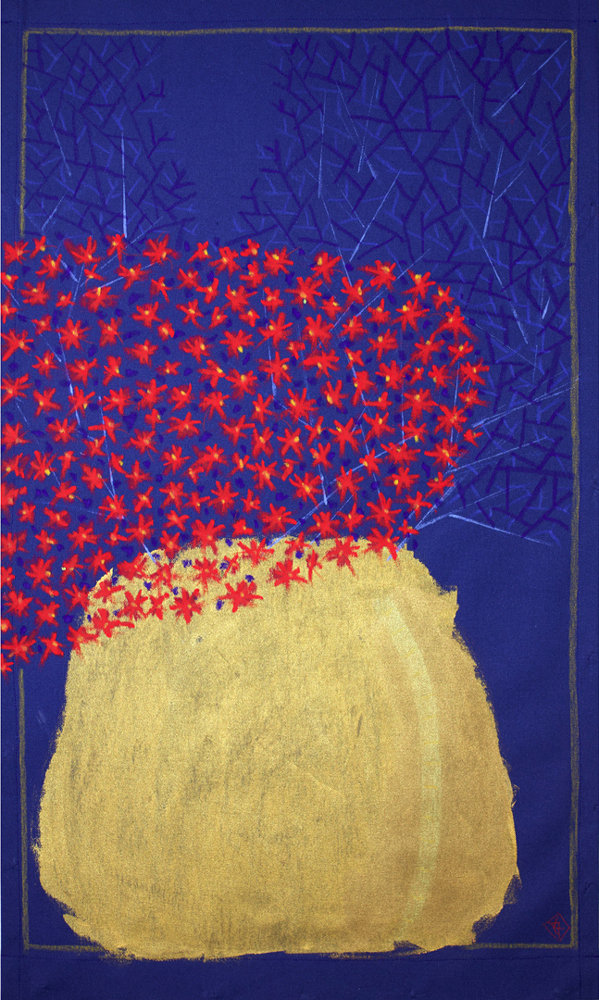 flora, floral, wallhanging, wall-hanging, contemporary still-life. red flowers, gold vase. twigs, dark blue. acrylic paint, oil pastels , artist canvas.