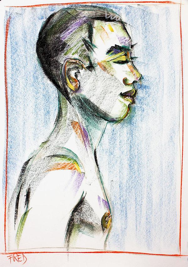 bernice davies, soft pastels, contemporary art, life drawing, figure drawing, contemporary drawing, fred, drawing on paper
