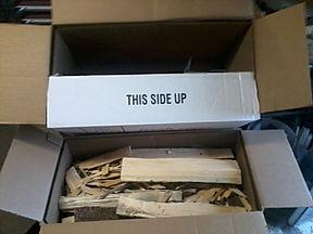 boxes of firestarte (kindling and tinder)