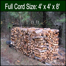 stack of measured cord wood