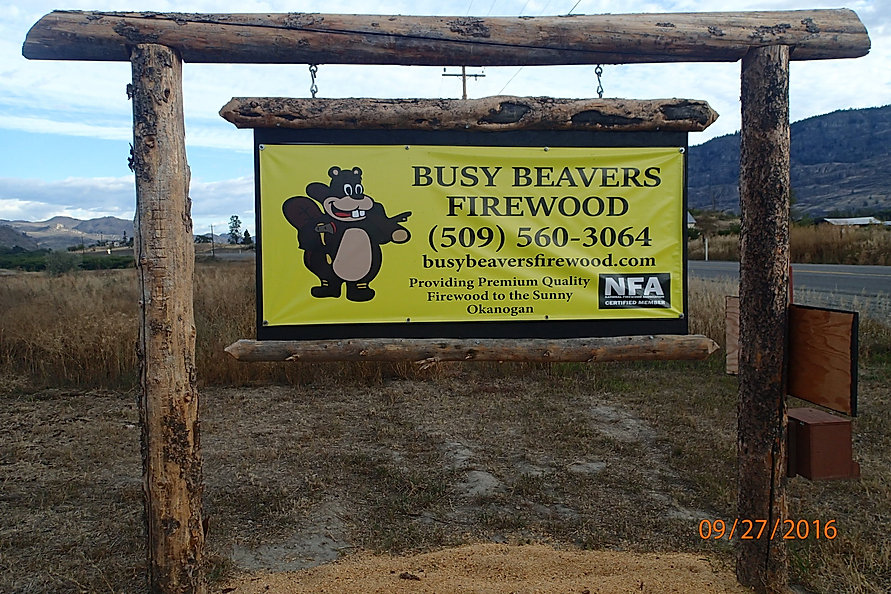 business sign at out wood facility
