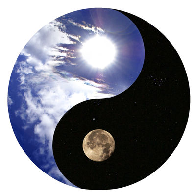 Sign of the yin and yang - the sky and t