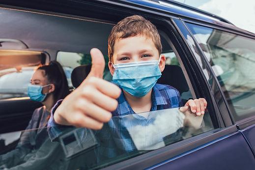 Kids wearing anti virus masks and using