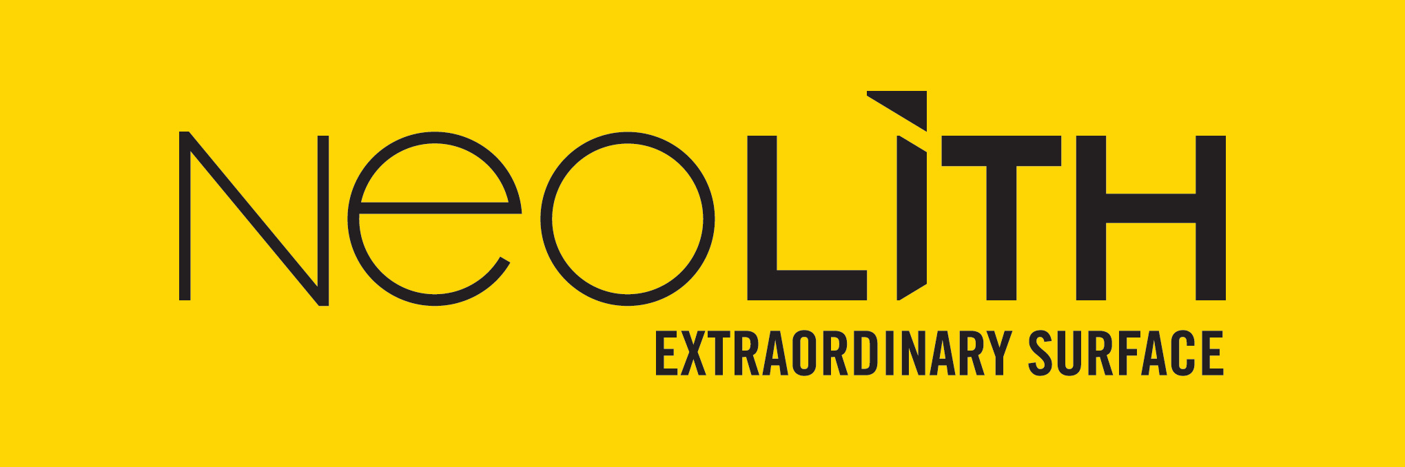 LOGO NEOLITH EXTRAORDINARY SURFACE_ FONDO AMARILLO