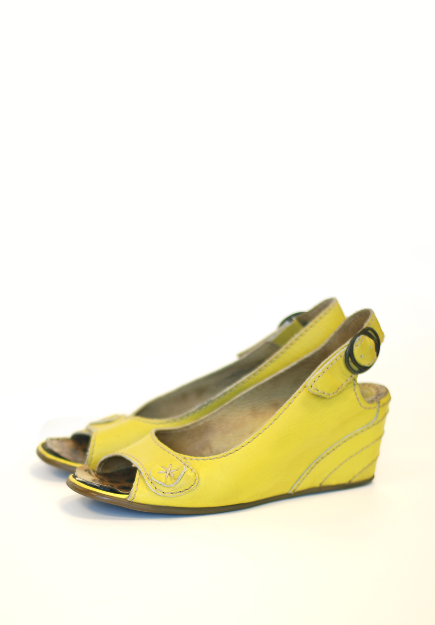 Yellow Wedge Sandals