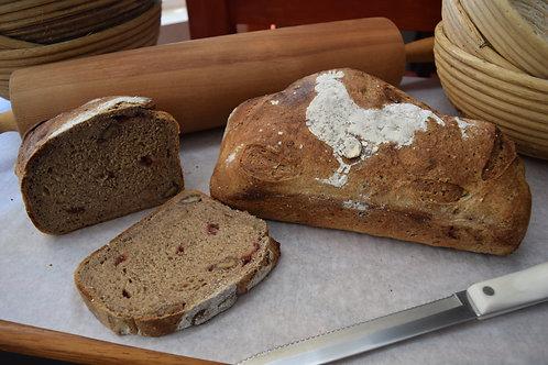 Cranberry Walnut High Fiber Sourdough Bread (2.5 lbs. / 1,120 gms)