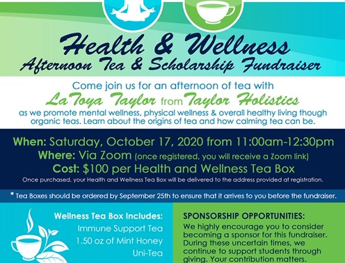Health and Wellness Afternoon Tea and Scholarship Fundraiser -10/17/20