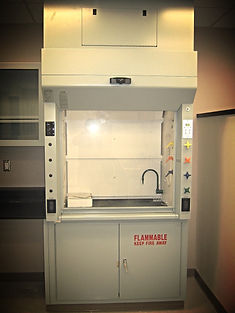 Fume hood with Waddell fume hood control compnents, including sash position sensor, fume hood face velocity monitor, airflow control valve, and VAV or CV control with DDC controller.