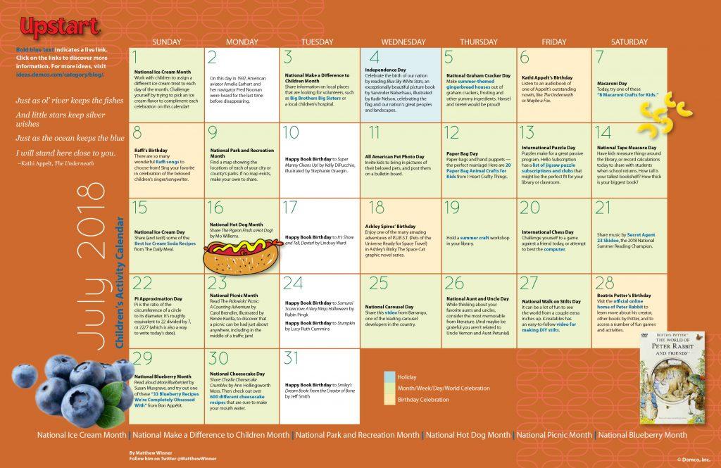 Children S Activity Calendar July 2018 Matthewcwinner