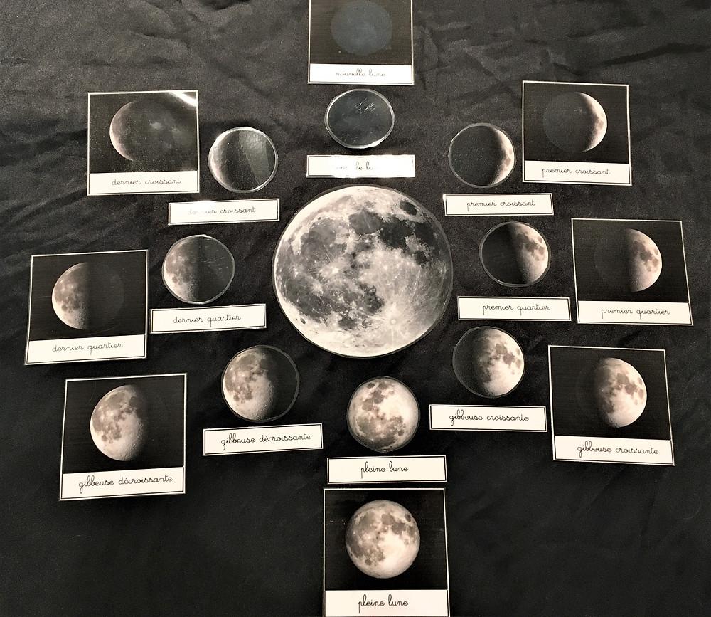 cartes de nomenclature Phases de la Lune,