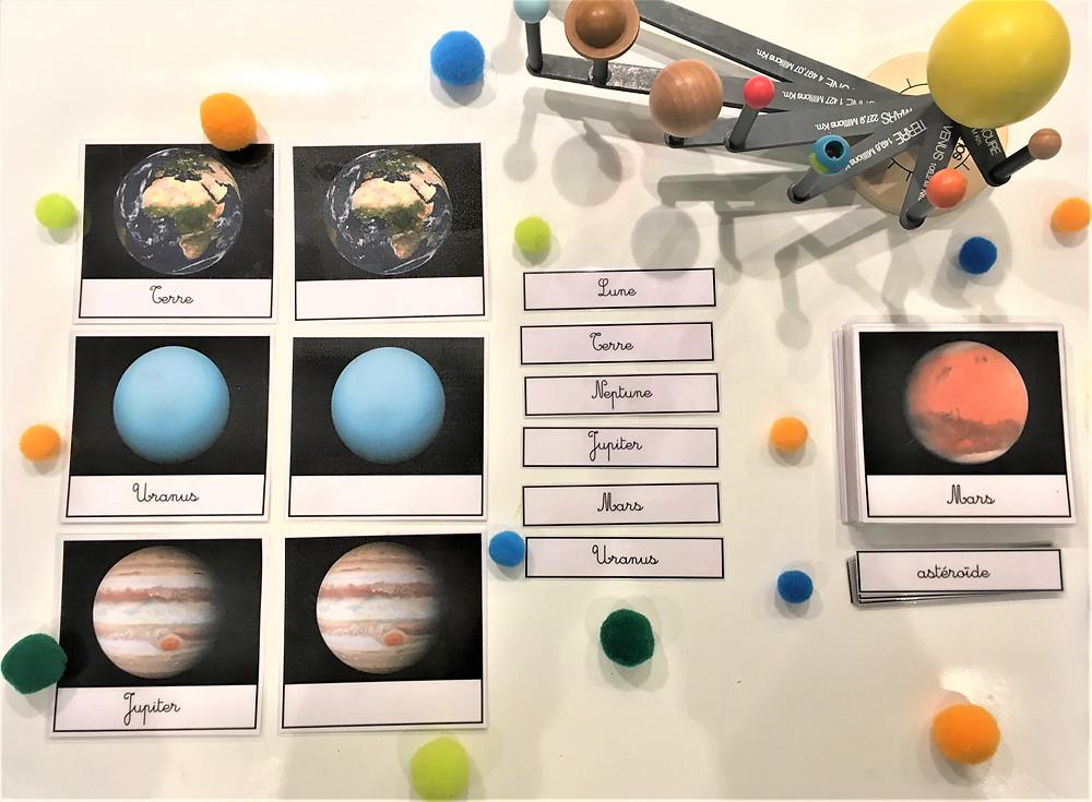 le système solaire, atelier montessori, nomenclature montessori, cartes système solaire, nomenclature système solaire