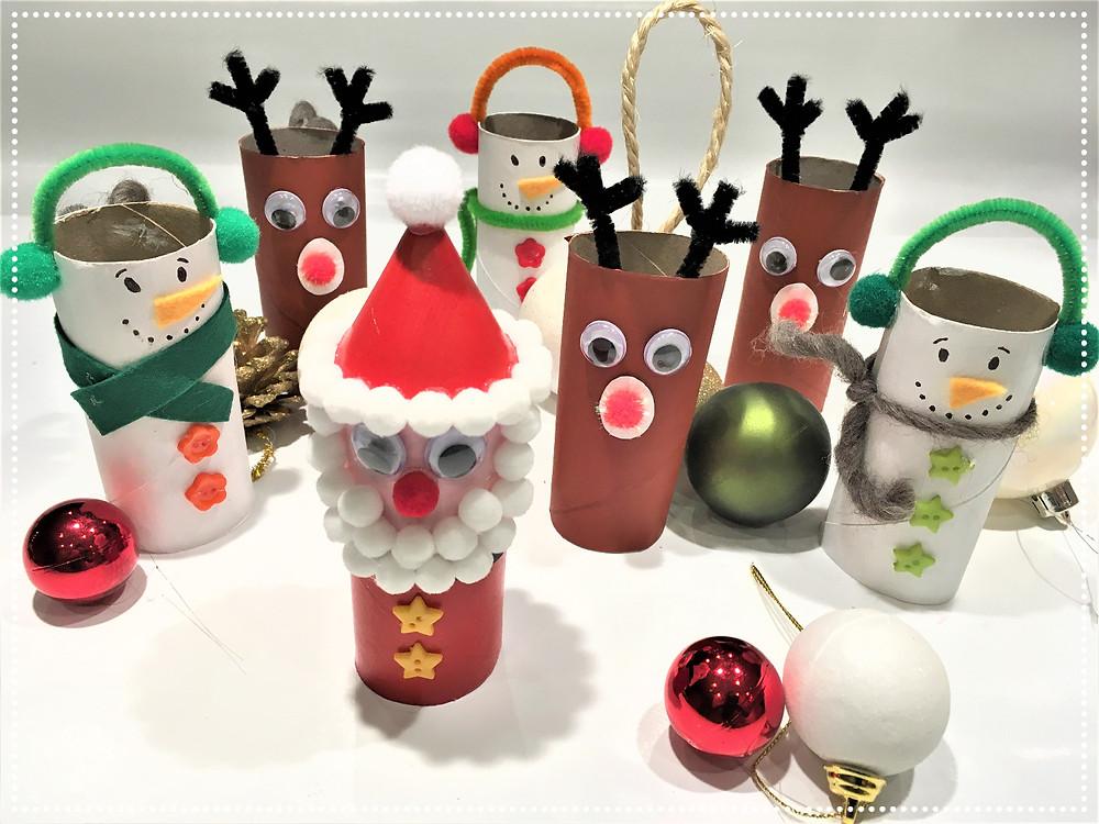 DIY bricolage de Noël pour enfants, bricolage de Noël pour enfants, bricolage en rouleau de papier toilette, personnages de Noël en papier toilette