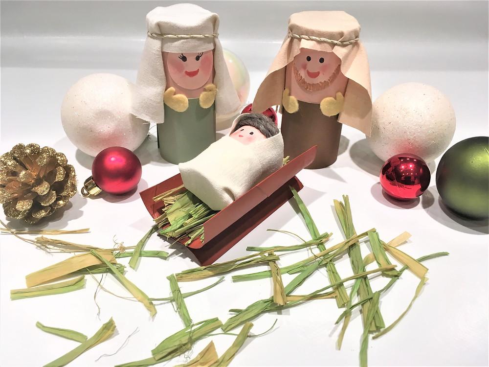 DIY de Noël : Jésus, Marie, Joseph en rouleau de papier toilette