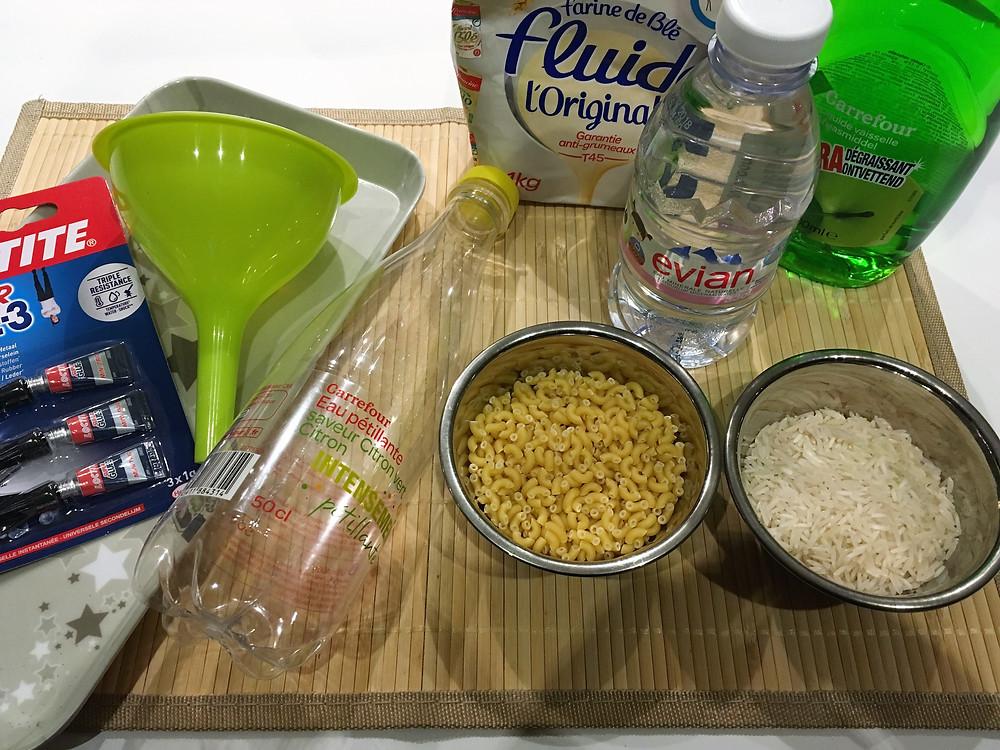 Ingrédients pour les bouteilles sensorielles