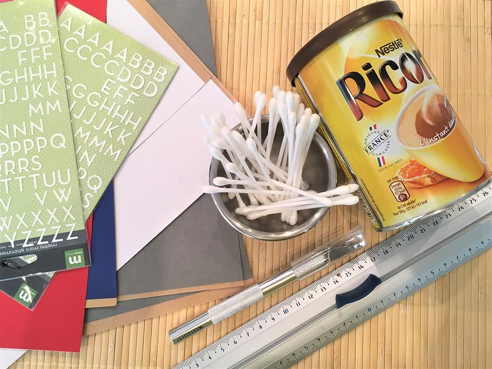 Atelier Montessori la Tirelire aux Cotons-Tiges, matériel nécessaire